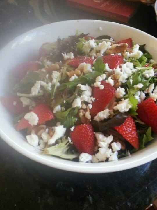 strawberry walnut and feta salad with coconut balsamic vinegar