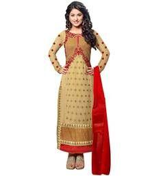 Buy Beige georgette embroidered semi stitiched salwar with dupatta party-wear-salwar-kameez online