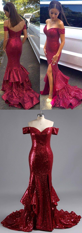 Off-the-shoulder Prom Dresses Burgundy, Sequined Party Dresses Long, Mermaid Formal Evening Dresses Modest