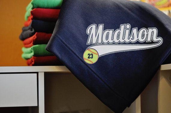 Softball Gift Stadium Blanket with Custom by SparkleChikOriginals