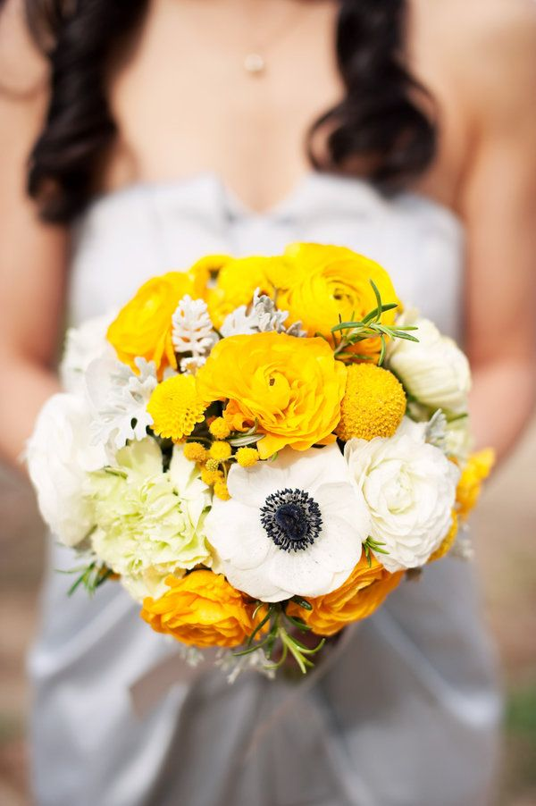 bouquet - love the anemonies, but would love this more with red peonies and red roses instead of yellow flowers! :D