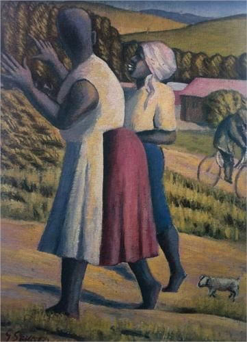 Gerard Sekoto (South African: 1913 – 1993) | WOMEN IN THE COUNTRY (1946)
