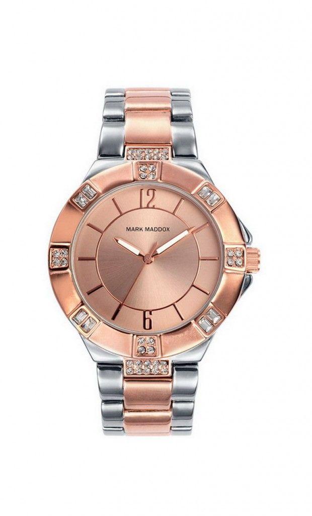 Reloj tres agujas brazalete IP Rosa, con esfera color rosa. Cierre desplegable. Cristal mineral. Impermeable 30m (3ATM). Un modelo bicolor totalmente espectacular!