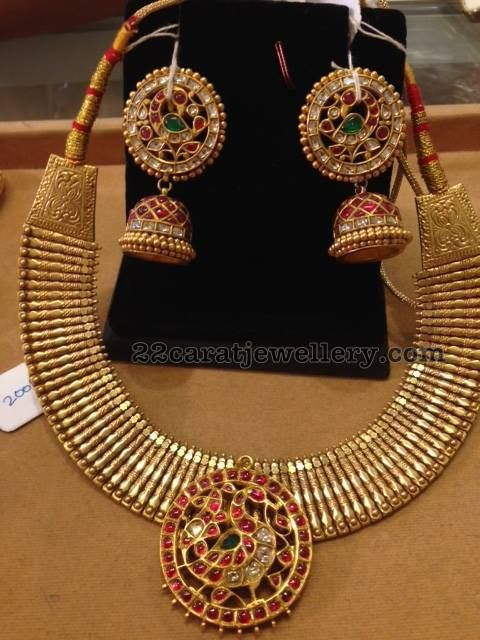 Heavy Choker with Kundan Jhumkas