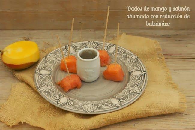 Dado de salmón y mango con reducción de balsámico