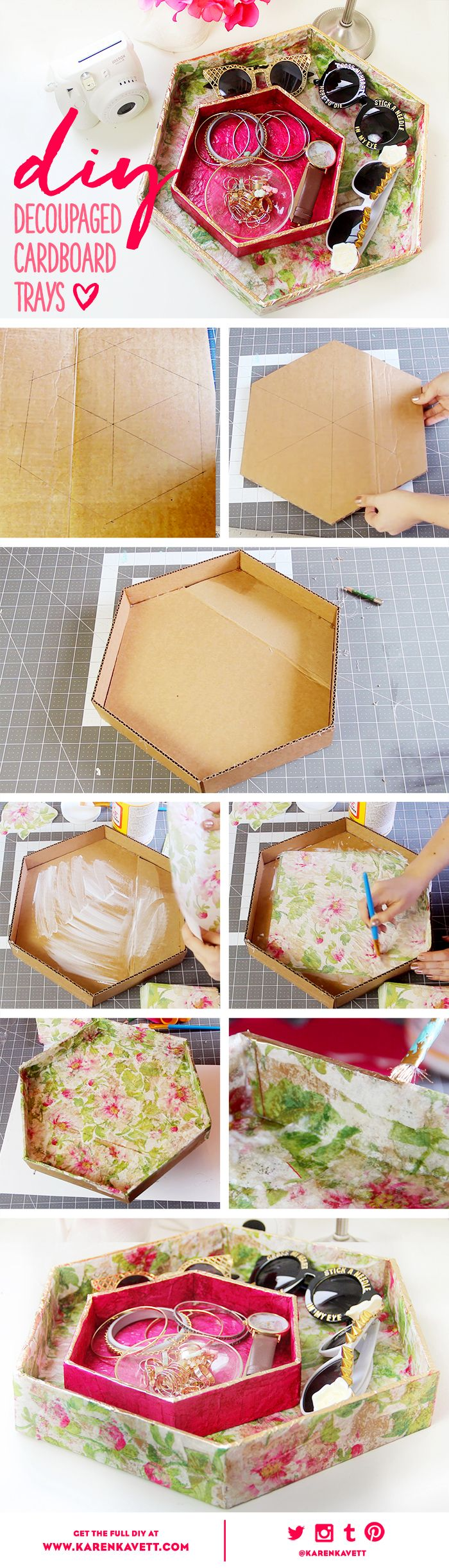 DIY Decoupage Cardboard Trays | Karen Kavett