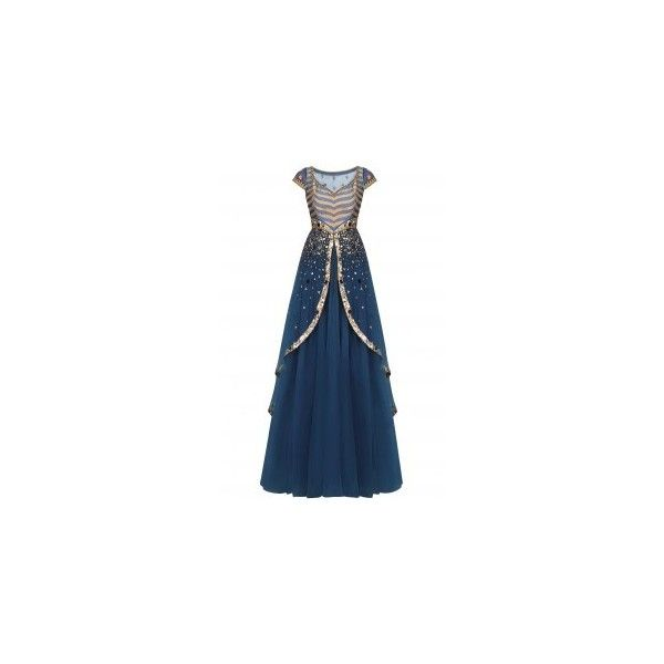 JJ Valaya ❤ liked on Polyvore featuring dresses, gowns, chevron dress, blue dress, blue gown, layered dress and blue chevron dress