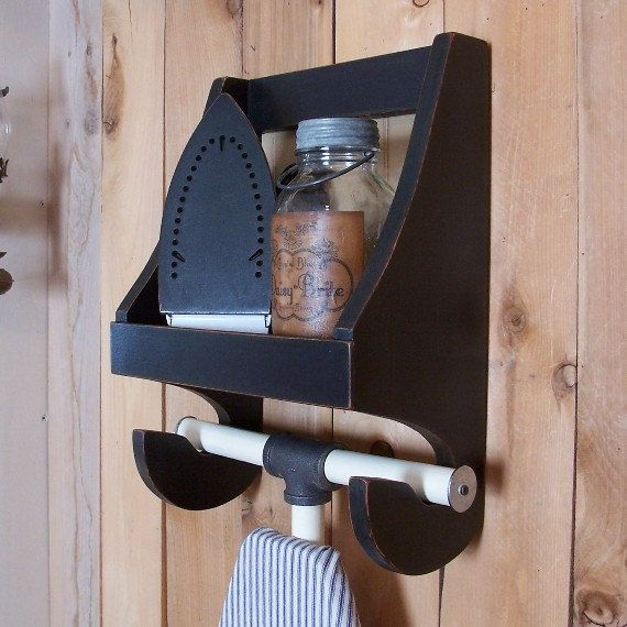 Primitive Ironing Board Shelf for the Laundry Room by Sawdusty