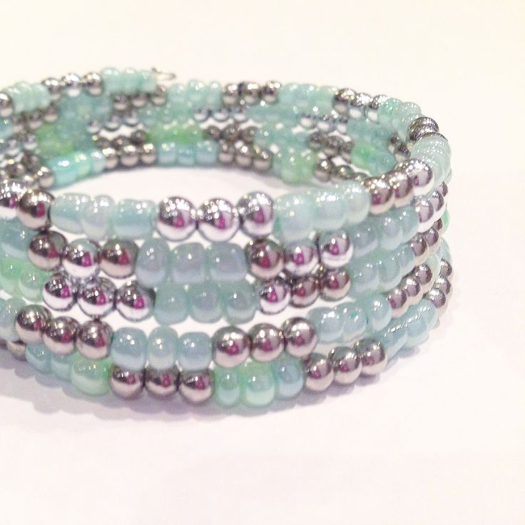 "Mint and silver ""mermaid"" bracelet made at 11 year old birthday party in mississauga, ontario.  All you have to do is provide a place to bead, we bring the beading party to you, we bring the beading supplies, the instructors and the fun.   We specialize in children's birthday beading parties, but can customize our bead party to any event and/or occasion such as Bat Mitzvahs, corporate events, summer camps, school workshops, Girl Guides of Canada, wedding/bridal showers, bachelorette parties…"
