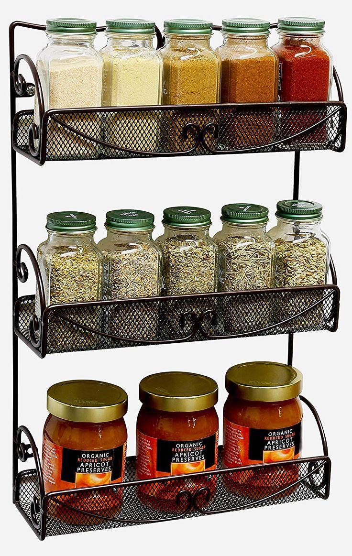Amazon.com: DecoBros 3 Tier Wall Mounted Spice Rack, Bronze: Home & Kitchen