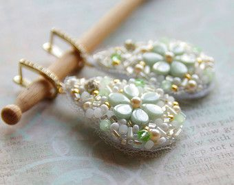 Gold flower earrings - Daisy embroidered dangles - Lever back earrings