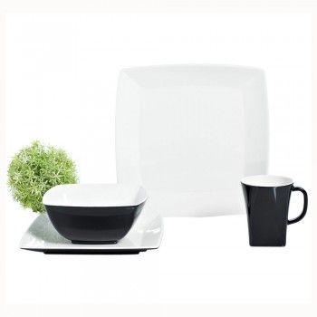 Das Campinggeschirr-Set Quadrato Black and White von Gimex ist nicht nur bruchunempfindlich und leicht, sondern macht zu Hause auch eine gute Figur.