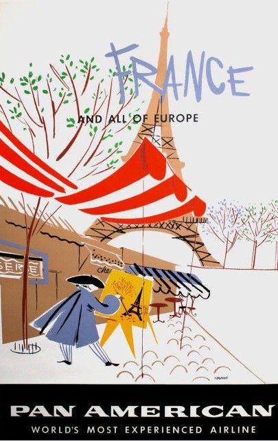 Original vintage poster PAN AM PARIS FRANCE ARTIST PAINTER