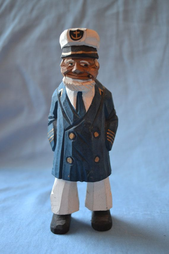 Old Salt Sea Captain Carved Wooden Figurine Wooden