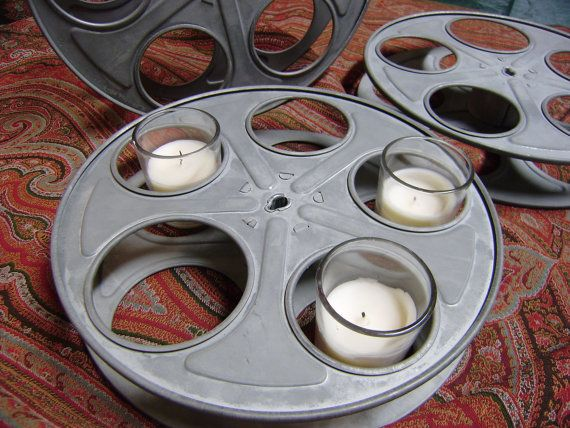 Vintage movie reel turned candle holder