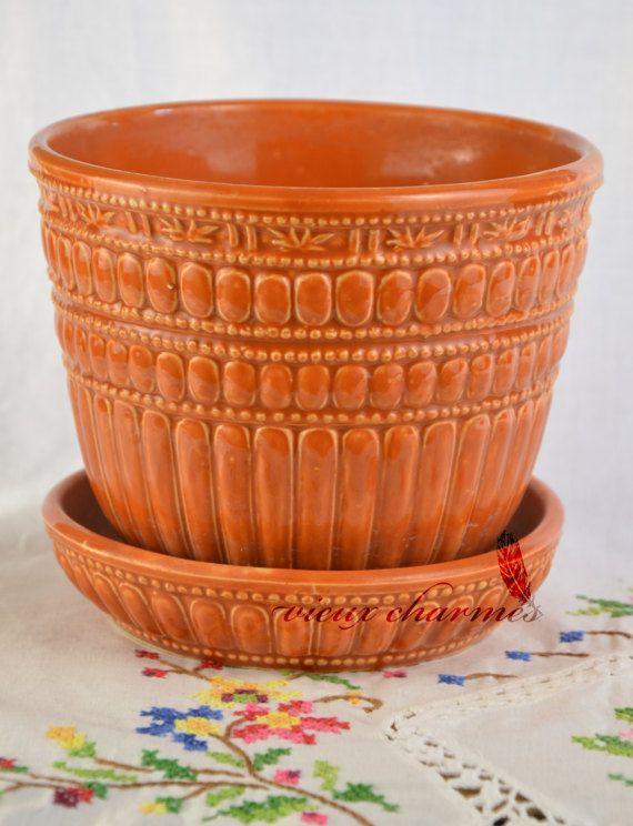 McCoy planter vintage flower pot orange planter by VieuxCharmes