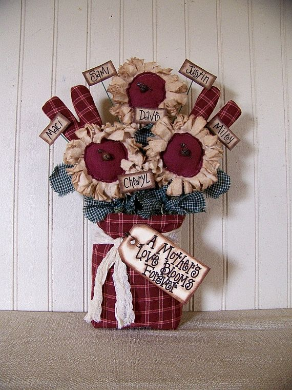 Mother's Day PERSONALIZED Primitive Country Spring  Daisies and Hearts Bag on Etsy, $28.50