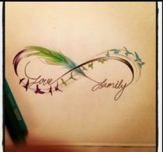 Infinity tattoos/ love and family tattoo /sparrow tattoos/ watercolor infinity…