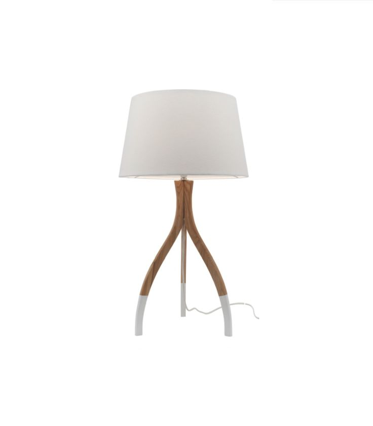 Carmen Table Lamp Natural Timber with White Feet & Shade Mercator A34411