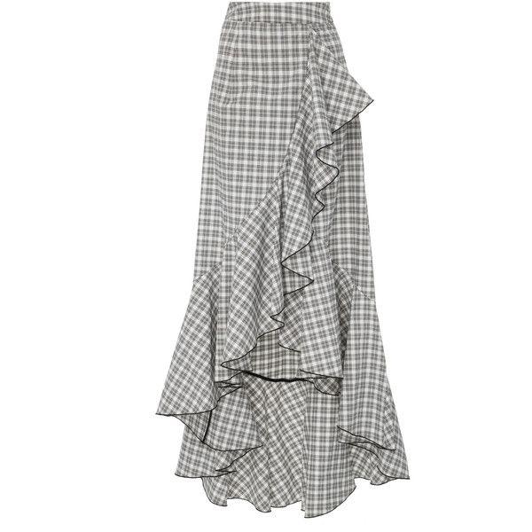 NIKA TANG Roseta Maxi Skirt (€595) ❤ liked on Polyvore featuring skirts, plaid, long white skirt, white maxi skirt, long tartan skirt, ankle length skirts and white skirt