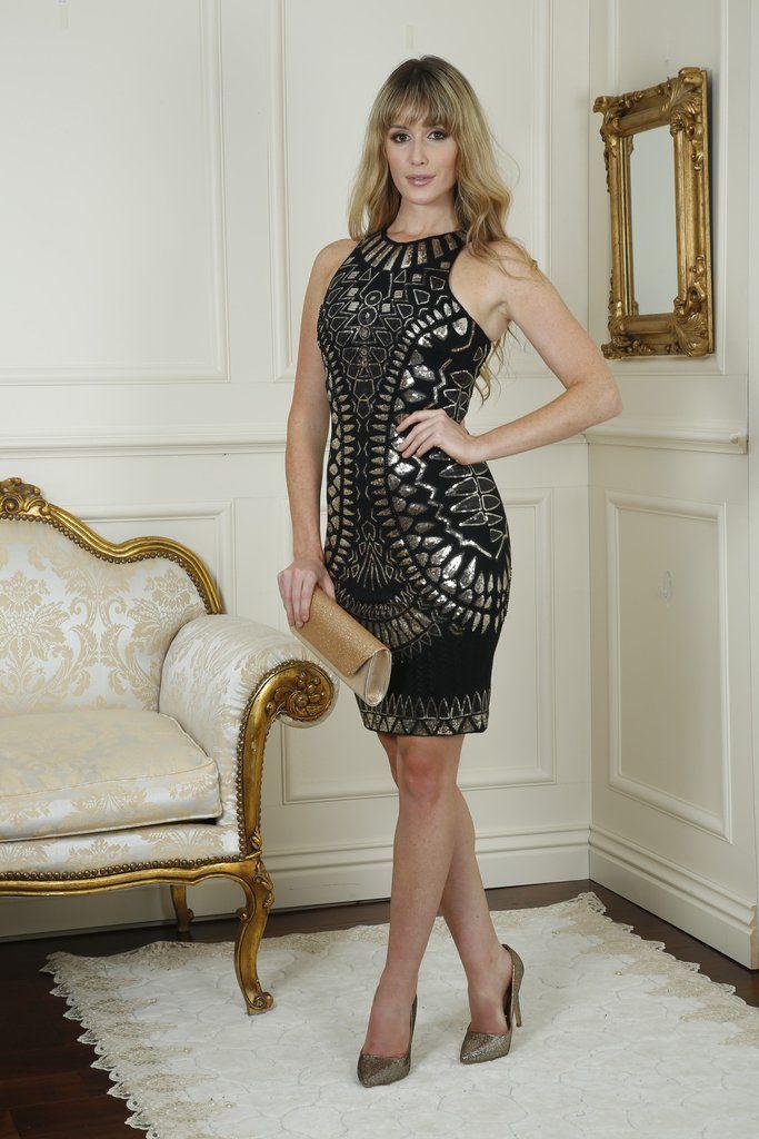 Heather Black Gold Sequin Dress