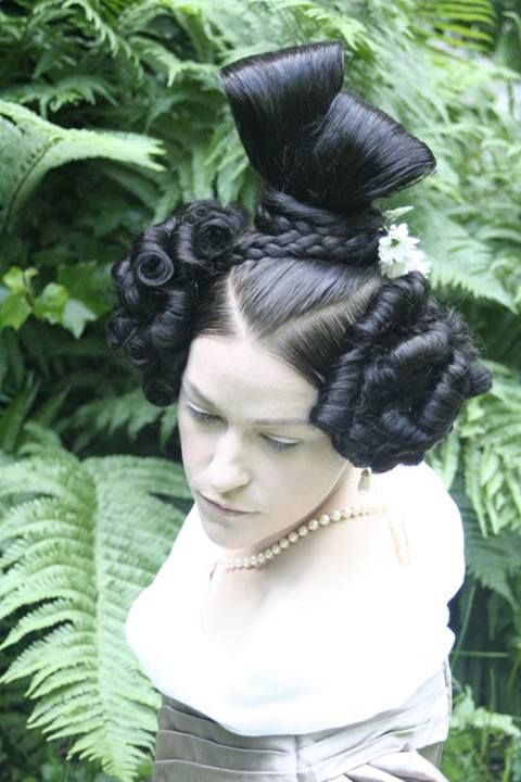 In the manner of a c1830 (late Regency) hairstyle by the Dresden Academy of Fine Arts in Germany.