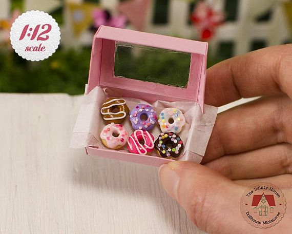 Miniature Box of Donuts Colorful Mix 1:12 Scale Doughnuts