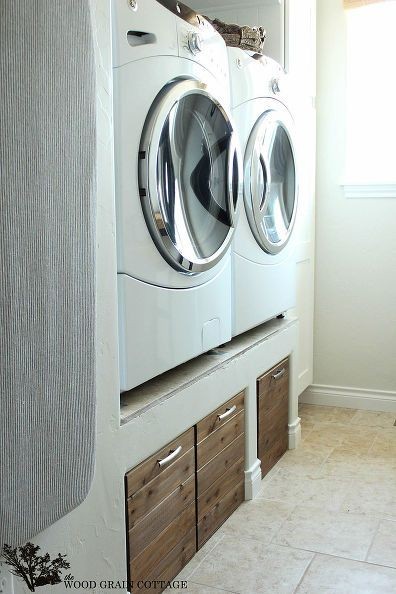 diy laundry room crates, cleaning tips, diy, how to, laundry rooms, We needed a laundry room sorting system so we made these slide out crates Not only do they look great but they hide all the dirty laundry
