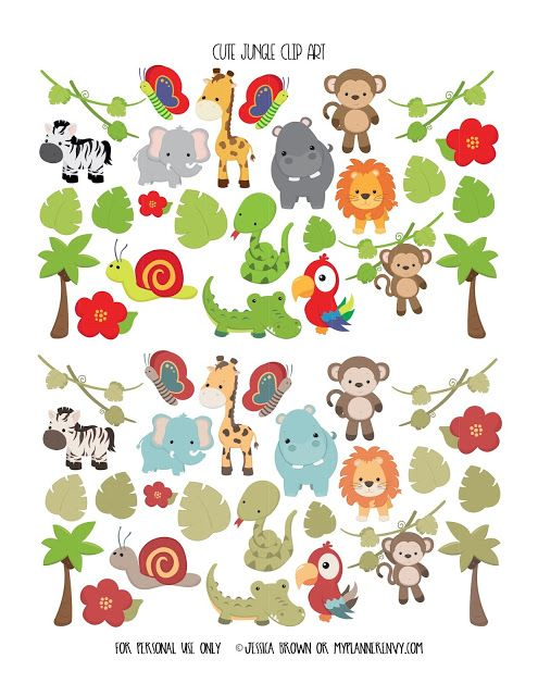 Cute Jungle Clip Art from myplannerenvy.com