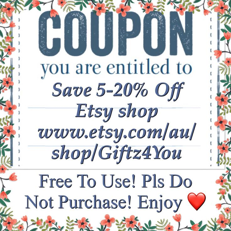 """Save on your purchase when shopping from etsy store Giftz4You! These coupons are free to use. Please Do not purchase. """" Save, Pin, Share with your friends"""""""
