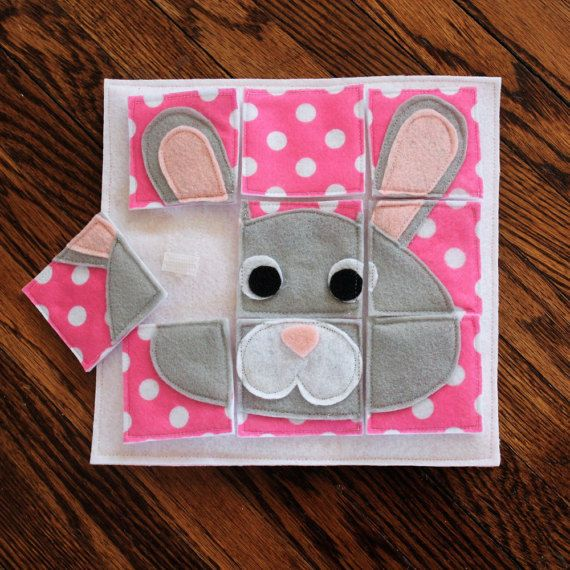 Bunny Puzzle – Custom Hand-Crafted Quiet Book Page- A Single Page to Expand Your Personalized Quiet Book