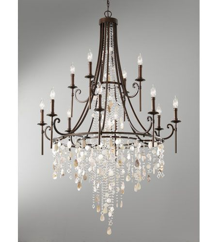 feiss cascade 12 light chandelier in heritage bronze f266184htbz