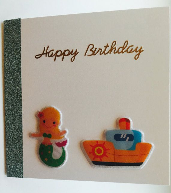 Handmade Happy Birthday Card with Boat and Mermaid Design