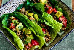 Kalyn's Kitchen: Turkey Lettuce Wrap Tacos with Chiles, Cumin, Cilantro, Lime and Tomato-Avocado Salsa