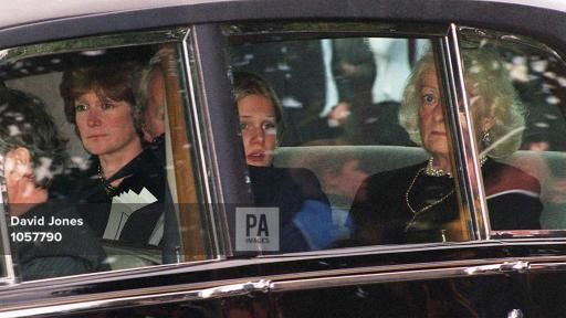 Frances Shand-Kydd (right) arrives at Althorp House this afternoon (Saturday) for the burial of Diana, Princess of Wales
