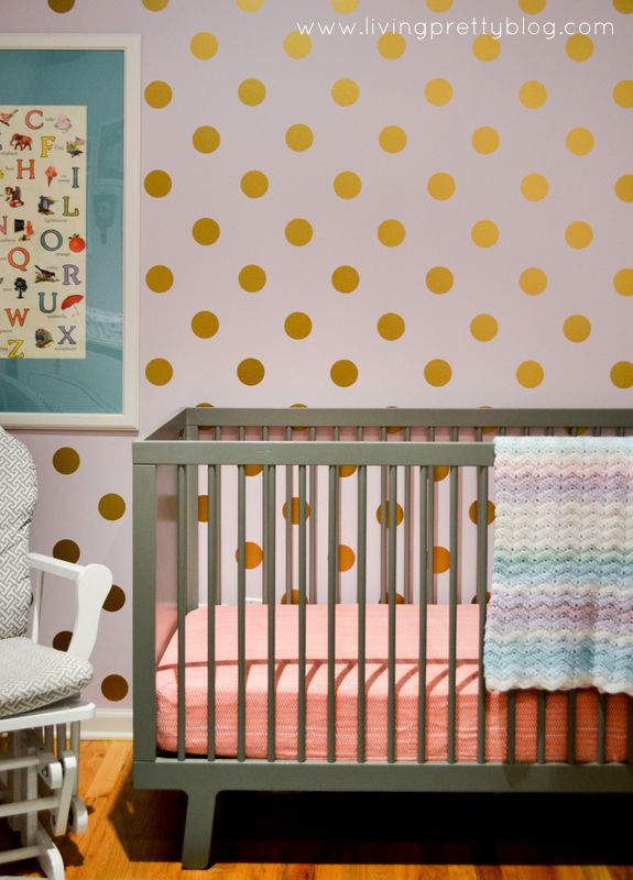 Gold Polka Dot Decals Accent Wall in Nursery - (decals from @The Land of Nod): Loft Nurseries, Dots Decals, Gold Polka Dots, Eleanor Loft, Living Pretty, Polka Dots Wall, Baby Rooms, Gold Dots, Nurseries Reveal