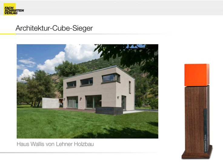 Am 24.September wurden im Stuttgarter Kunstmuseum der angesehenste Preis der Deutschen Fertigbaubranche zum neunten Mal verliehen. Die unabhängige Jury mit Vertretern aus Forschung, Lehre, Wirtschaft und Medien prämierte das herausragenste Fertighausfür Architektur.  DenArchitektur-Cube 2016.  Wir freuen uns ihn aktuell erhalten zu haben.