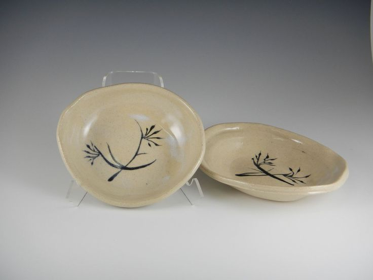 """Stems and Leaves"" Small Ovals — Mimi Stadler Pottery- here is some brushwork on completed oval dishes thrown, stretched and ""relaxed"" into those bisque slump molds I made."