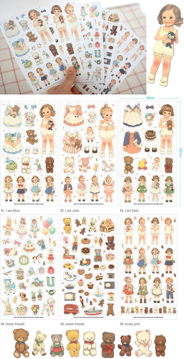 Set of 6 Sheets Paper Doll Mate Deco Stickers (P138). $5.40, via Etsy.