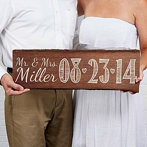 """Our Wedding Date"" Personalized Wood Plank Sign - on sale now at PersonalizationMall for $25.15 (usually $35.95) ... this is great for engagement photos, wedding photos or as a wedding decoration that the couple can keep and display in their home after their married!"