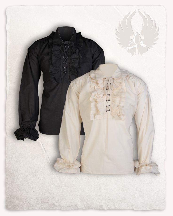 """Das """"Gratian"""" Rüschenhemd aus leichter Baumwolle trägt sich perfekt zu sonnigen Mittelaltermärkten, auf historischen Hochzeiten oder zu vielen anderen Anlässen. Material: Leichte Baumwolle Größen: M-XXL"""