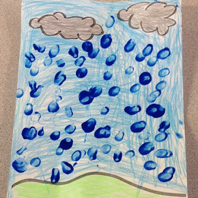 Great rainy day art! Just do a landscape outline with clouds, have kids color and make blue thumbprints for raindrops. Use white paint for snowflakes. Enjoy!