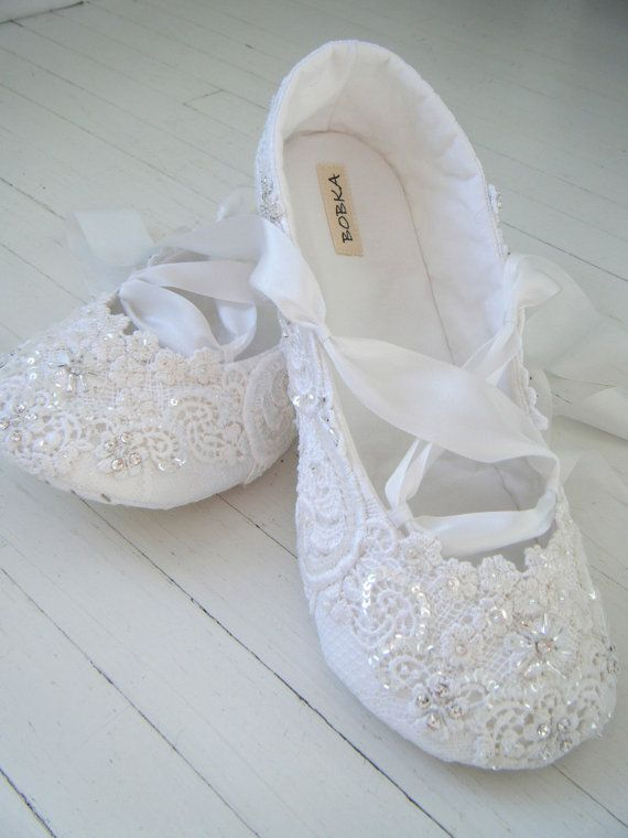 Bridal Shoes Flats, Wedding Ballet Shoes, White Crystal Ballet Flats, Lace,Custom Made By BobkaBaby
