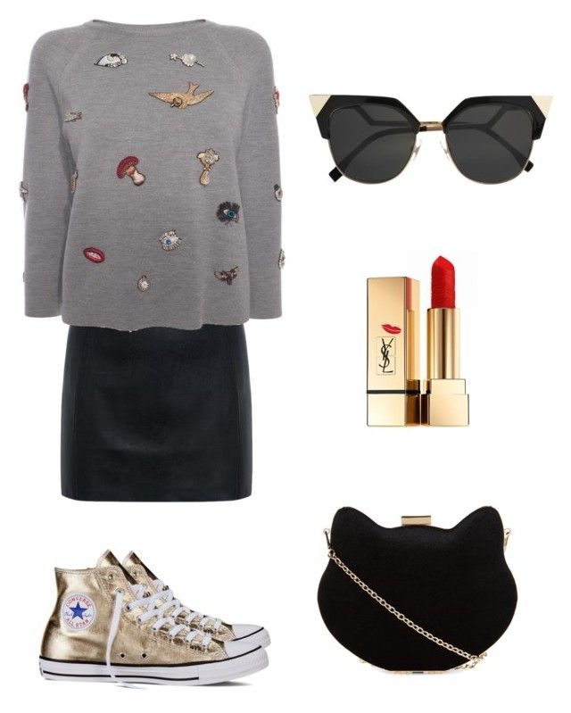 Sparkle it🌟 by anmari29 on Polyvore featuring polyvore, fashion, style, Alexander McQueen, McQ by Alexander McQueen, Converse, New Look, Fendi, Yves Saint Laurent and clothing