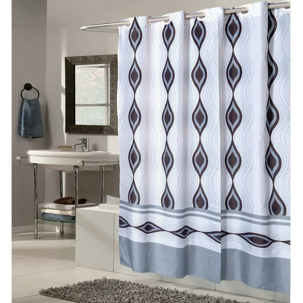 Wide X Long Harlequin Blue And Gray Ez On Hookless Shower Curtain