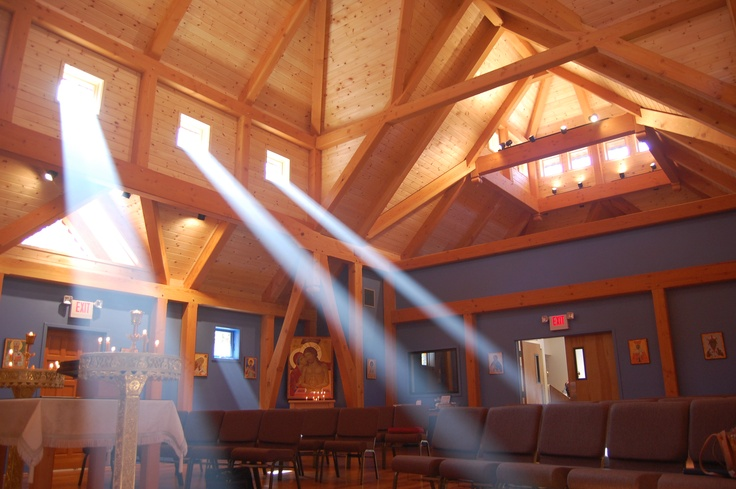 Russian Orthodox Church in Maryland.  I love how the sun's rays come in to bless the timber framed church.