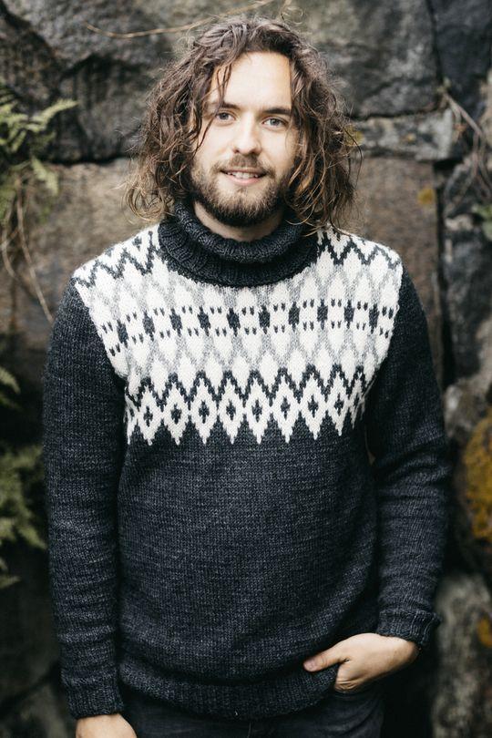 Men's colourwork sweater with Novita 7 Veljestä #knitting #knitwear #knit #sweater https://www.novitaknits.com/en