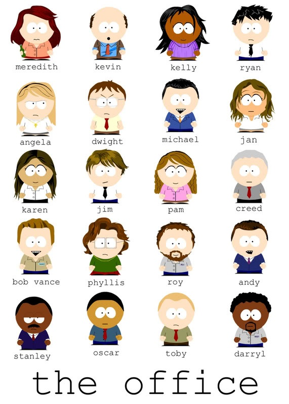 The Office, South Park style Office cartoon, The office