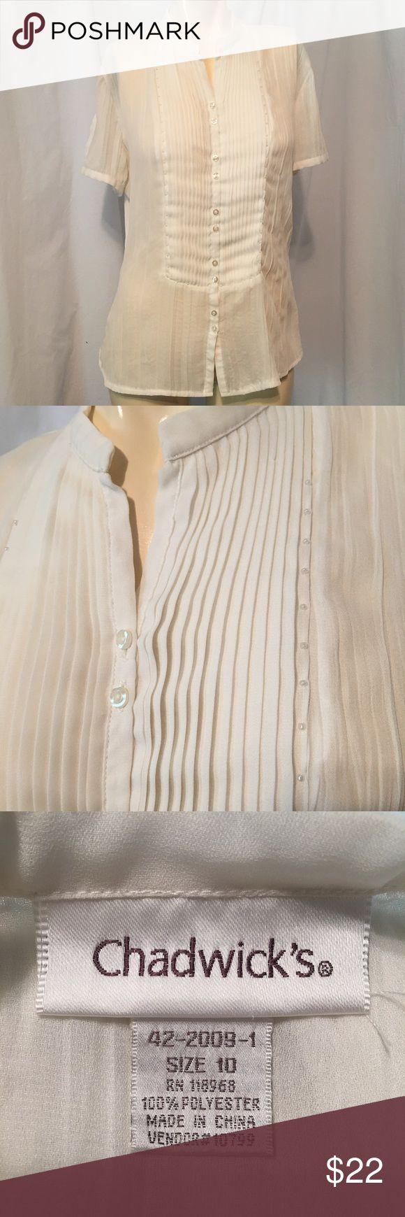 Chadwick's ruffle beaded top Off white ruffle button down top Chadwicks Tops