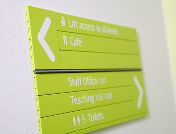 Branded way-finding signage for INTO University of East Anglia